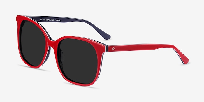 Celebration Red & Navy Acetate Sunglass Frames from EyeBuyDirect, Angle View