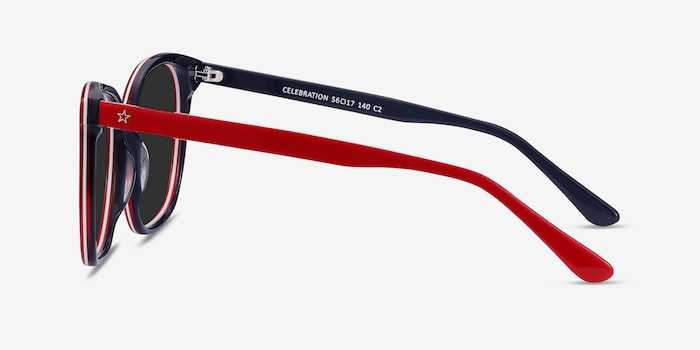 Celebration Red & Navy Acetate Sunglass Frames from EyeBuyDirect, Side View