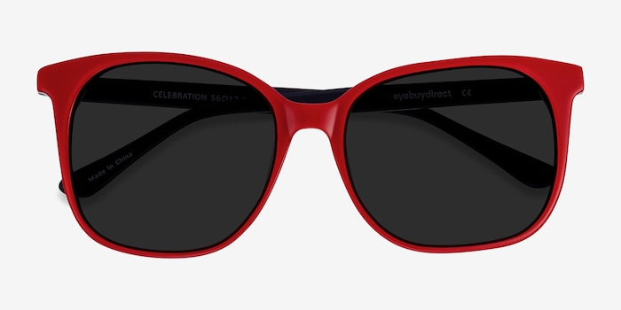 Celebration Red & Navy Acetate Sunglass Frames from EyeBuyDirect, Closed View