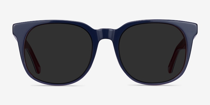 1776 Navy & Red Acetate Sunglass Frames from EyeBuyDirect, Front View