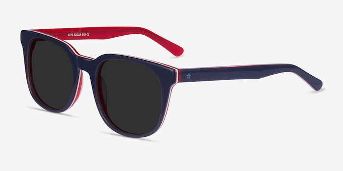 1776 Navy & Red Acetate Sunglass Frames from EyeBuyDirect, Angle View