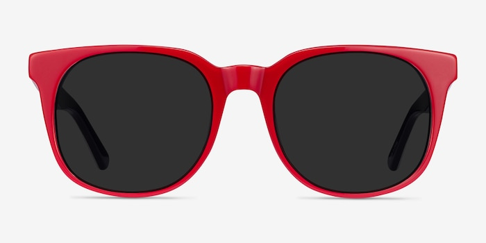 1776 Red & Navy Acetate Sunglass Frames from EyeBuyDirect, Front View