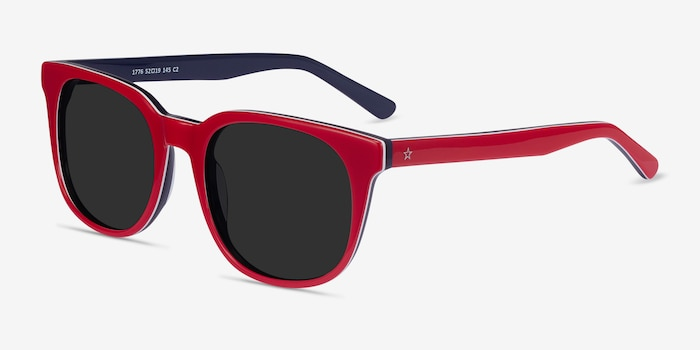 1776 Red & Navy Acetate Sunglass Frames from EyeBuyDirect, Angle View