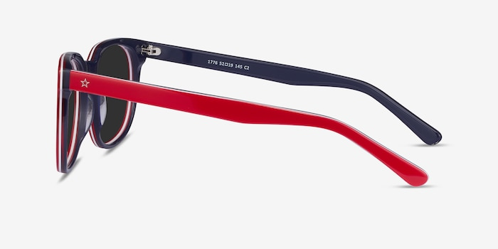 1776 Red & Navy Acetate Sunglass Frames from EyeBuyDirect, Side View