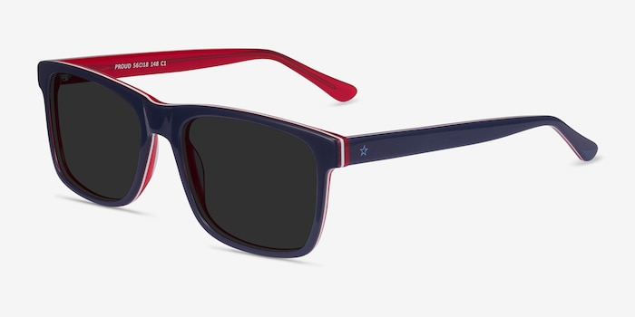 Proud Navy & Red Acetate Sunglass Frames from EyeBuyDirect, Angle View