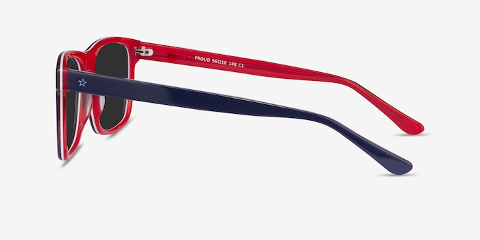 Proud Navy & Red Acetate Sunglass Frames from EyeBuyDirect, Side View