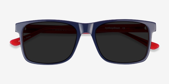 Proud Navy & Red Acetate Sunglass Frames from EyeBuyDirect, Closed View