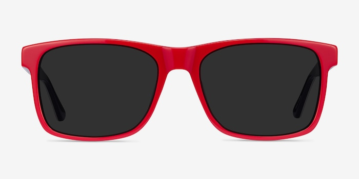 Proud Red & Navy Acetate Sunglass Frames from EyeBuyDirect, Front View