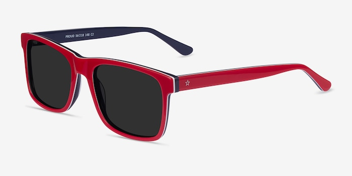 Proud Red & Navy Acetate Sunglass Frames from EyeBuyDirect, Angle View