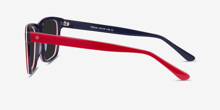 Proud Red & Navy Acetate Sunglass Frames from EyeBuyDirect, Side View