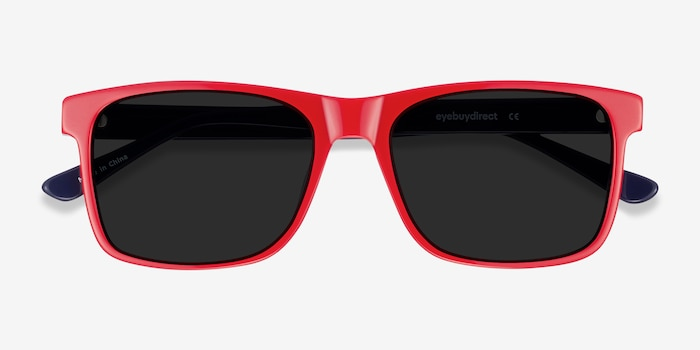 Proud Red & Navy Acetate Sunglass Frames from EyeBuyDirect, Closed View