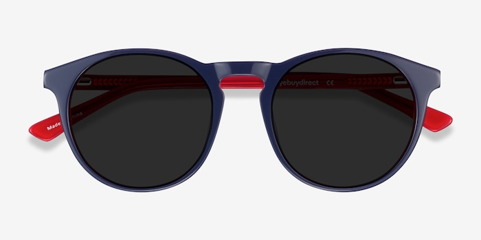 Monument Navy & Red Acetate Sunglass Frames from EyeBuyDirect, Closed View