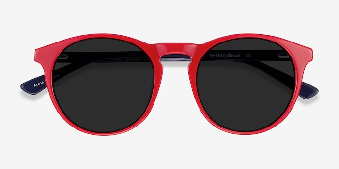Monument Red & Navy Acetate Sunglass Frames from EyeBuyDirect, Closed View