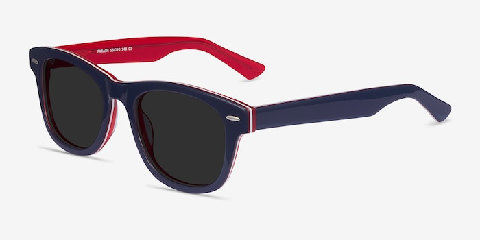 Parade Navy & Red Acetate Sunglass Frames from EyeBuyDirect, Angle View
