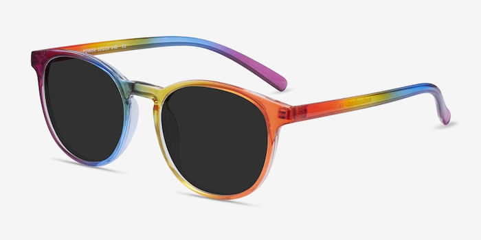Power Rainbow Plastic Sunglass Frames from EyeBuyDirect, Angle View