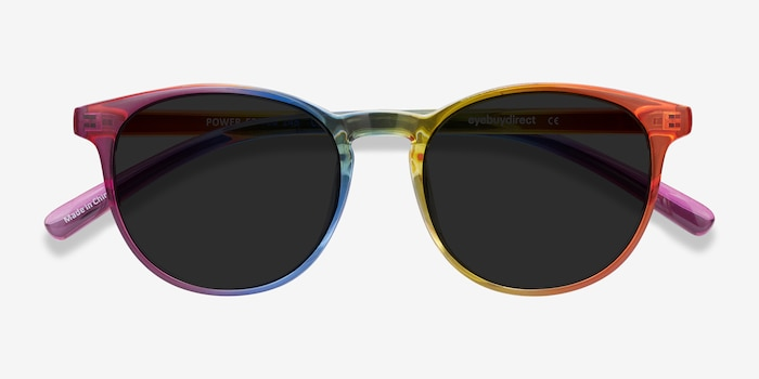 Power Rainbow Plastic Sunglass Frames from EyeBuyDirect, Closed View