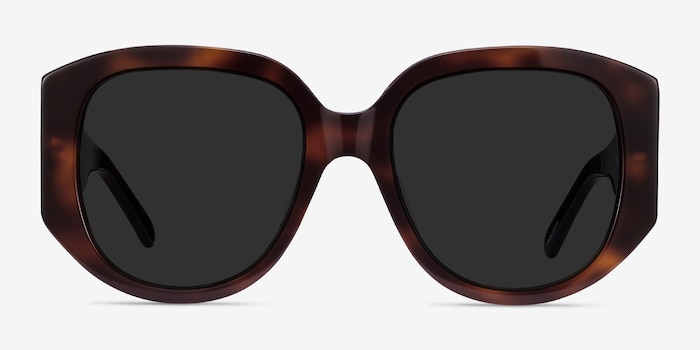Bianca Tortoise Acetate Sunglass Frames from EyeBuyDirect, Front View