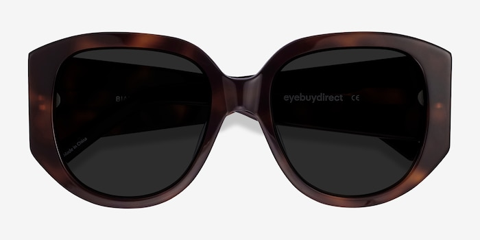 Bianca Tortoise Acetate Sunglass Frames from EyeBuyDirect, Closed View