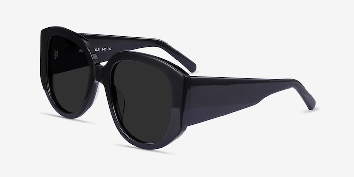 Bianca Black Acetate Sunglass Frames from EyeBuyDirect, Angle View