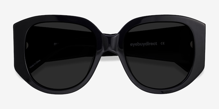 Bianca Black Acetate Sunglass Frames from EyeBuyDirect, Closed View