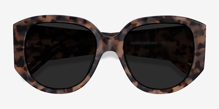 Bianca Ivory Tortoise Acetate Sunglass Frames from EyeBuyDirect, Closed View