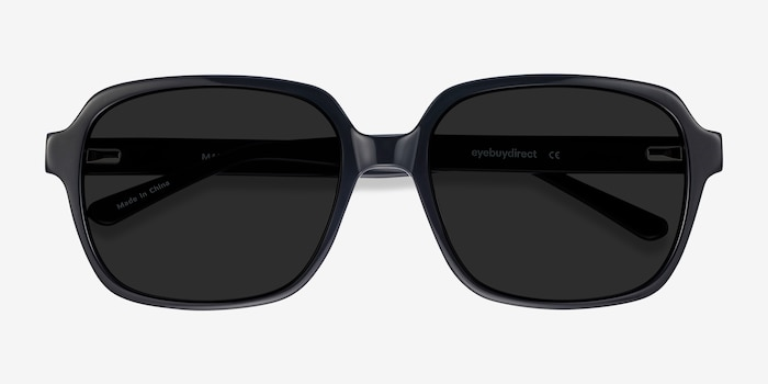 Marlon Black Acetate Sunglass Frames from EyeBuyDirect, Closed View