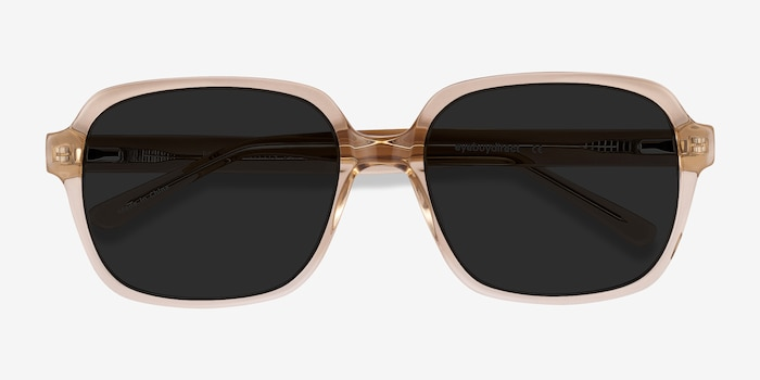 Marlon Brown Acetate Sunglass Frames from EyeBuyDirect, Closed View