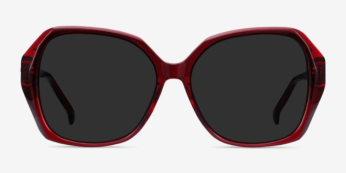 Isabella Burgundy Acetate Sunglass Frames from EyeBuyDirect, Front View