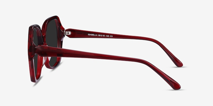 Isabella Burgundy Acetate Sunglass Frames from EyeBuyDirect, Side View