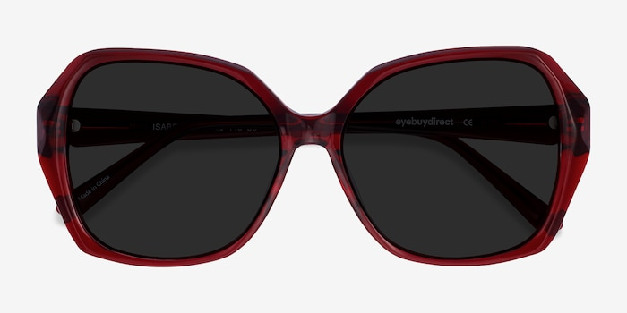 Isabella Burgundy Acetate Sunglass Frames from EyeBuyDirect, Closed View