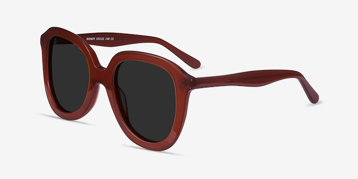 Wendy Burgundy Acetate Sunglass Frames from EyeBuyDirect, Angle View
