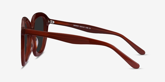 Wendy Burgundy Acetate Sunglass Frames from EyeBuyDirect, Side View