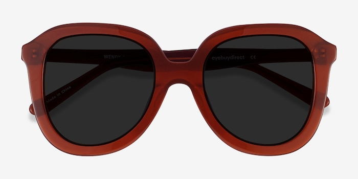 Wendy Burgundy Acetate Sunglass Frames from EyeBuyDirect, Closed View