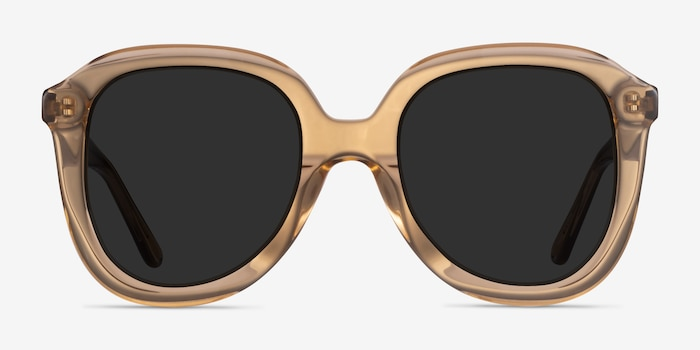 Wendy Clear Brown Acetate Sunglass Frames from EyeBuyDirect, Front View