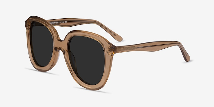 Wendy Clear Brown Acetate Sunglass Frames from EyeBuyDirect, Angle View