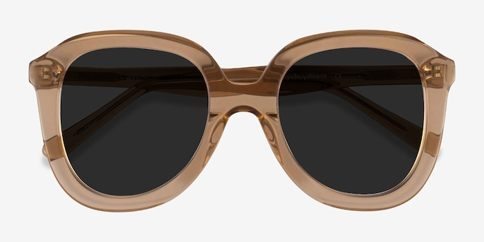 Wendy Clear Brown Acetate Sunglass Frames from EyeBuyDirect, Closed View