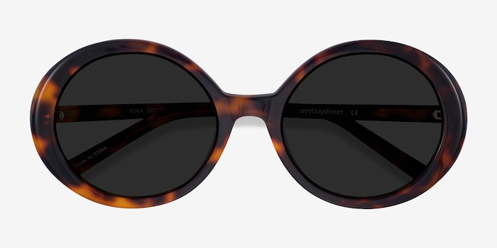 Tina Tortoise Acetate Sunglass Frames from EyeBuyDirect, Closed View