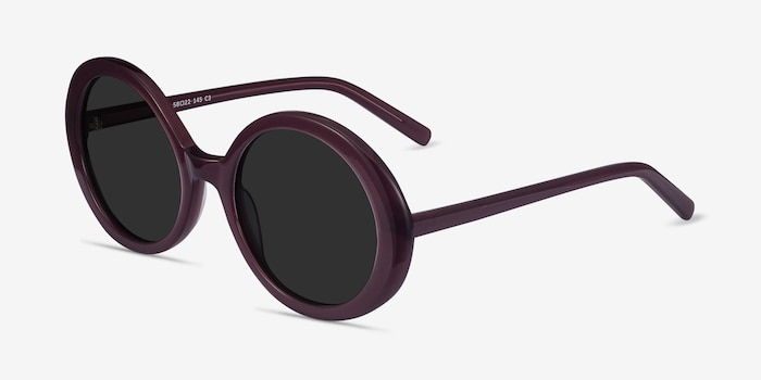 Tina Purple Acetate Sunglass Frames from EyeBuyDirect, Angle View
