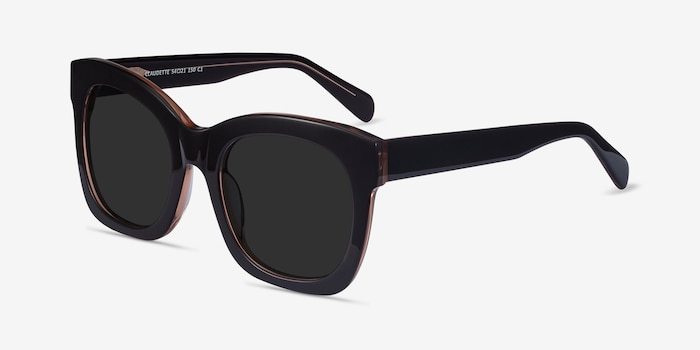 Claudette Dark Coffee Acetate Sunglass Frames from EyeBuyDirect, Angle View