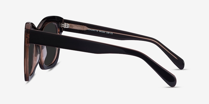 Claudette Dark Coffee Acetate Sunglass Frames from EyeBuyDirect, Side View