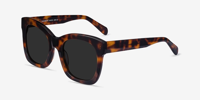 Claudette Tortoise Acetate Sunglass Frames from EyeBuyDirect, Angle View