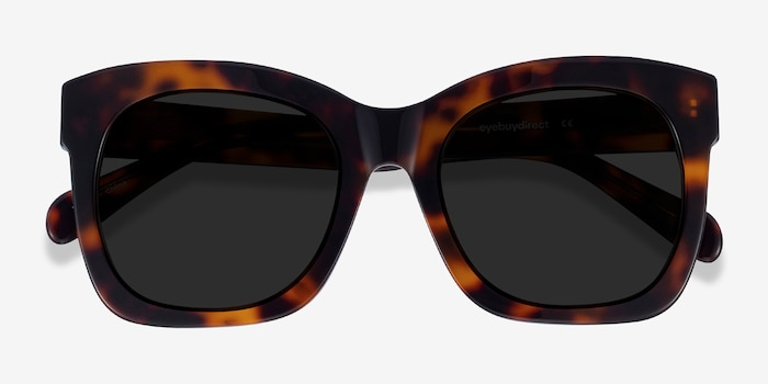 Claudette Tortoise Acetate Sunglass Frames from EyeBuyDirect, Closed View