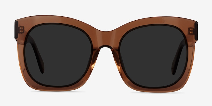 Claudette Clear Brown Acetate Sunglass Frames from EyeBuyDirect, Front View