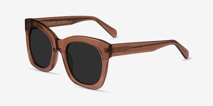 Claudette Clear Brown Acetate Sunglass Frames from EyeBuyDirect, Angle View