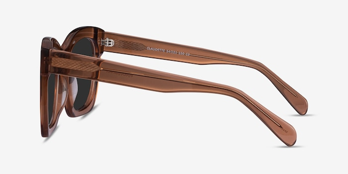 Claudette Clear Brown Acetate Sunglass Frames from EyeBuyDirect, Side View