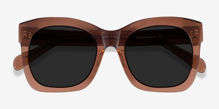 Claudette Clear Brown Acetate Sunglass Frames from EyeBuyDirect, Closed View