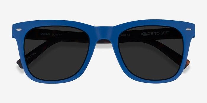 Ocean Atlantic Blue & Warm Tortoise Plastic Sunglass Frames from EyeBuyDirect, Closed View