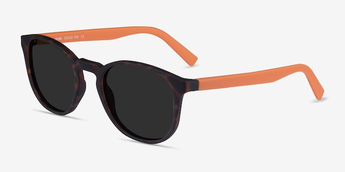 Dune Warm Tortoise & Coral Plastic Sunglass Frames from EyeBuyDirect, Angle View