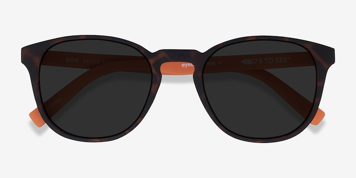 Dune Warm Tortoise & Coral Plastic Sunglass Frames from EyeBuyDirect, Closed View