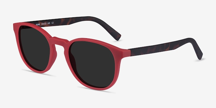 Dune Crimson & Warm Tortoise Plastic Sunglass Frames from EyeBuyDirect, Angle View